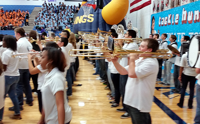 Lamar High School band welcomes Nichols Jr. High at a huge Pep Rally.