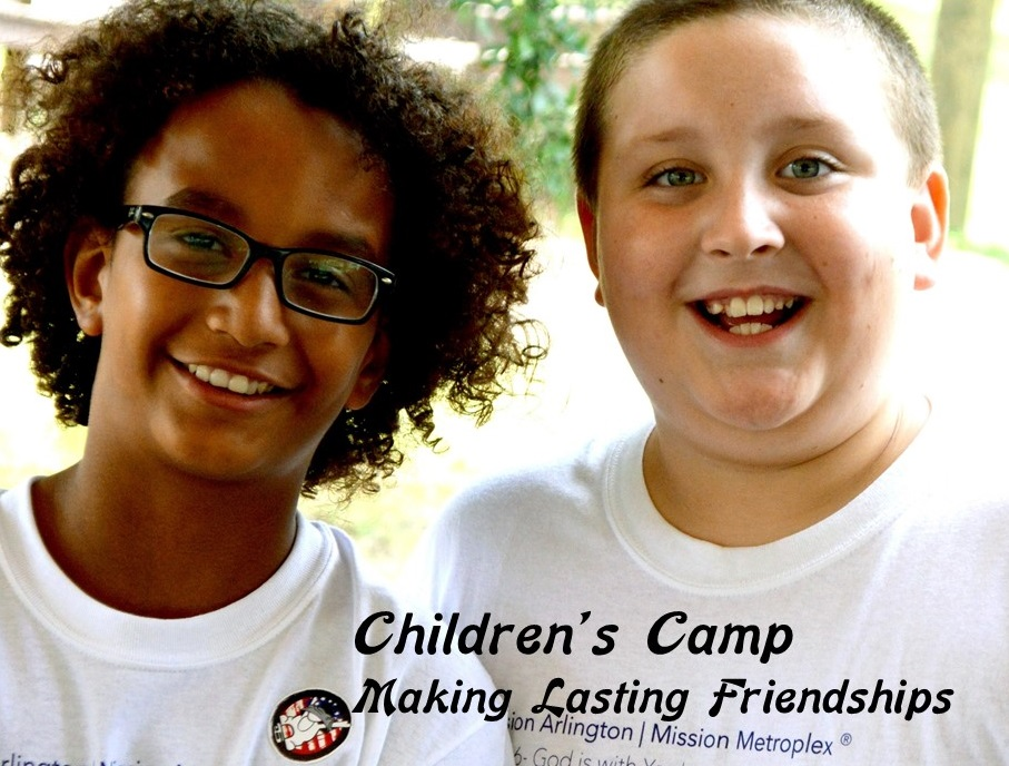 Our Saturday, all-day children's camps are for 4th, 5th, and 6th graders. Not only do they learn about the Lord, memorize a passage of Scripture, receive lots of love from Bible study leaders, they also make new friends, and have a lot of fun. The smiles pictured on Trey and Matthew are the norm for the day.